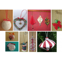 Eight No-Sew Fabric Ornaments