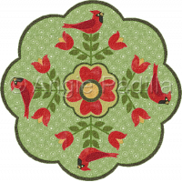 Cardinals & Tulips Table Topper